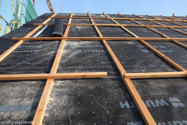 Wütop-Trio-Plus Unterspannbahn/Schalungsbahn auf dem Dach unseres Holz100-Haus