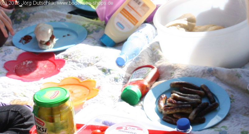 Picknick nach der Schnitzeljagd mit Bratwurst-Hotdogs