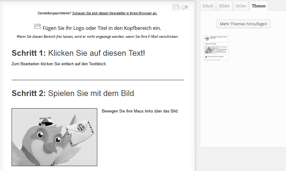 Screenshot: Mailpoet Newsletter erstellen