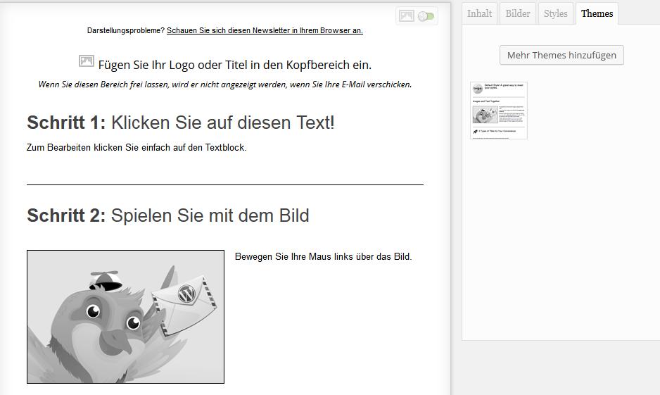 Screenshot: Mailpoet Newsletter erstellen