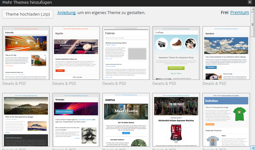 Theme-Auswahl für Newsletter in Mailpoet