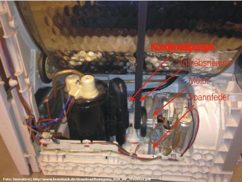 Wäschetrockner mit Kondensatpumpe und Motor.