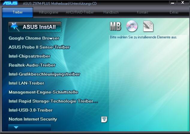 Menü der Treiber-CD von ASUS