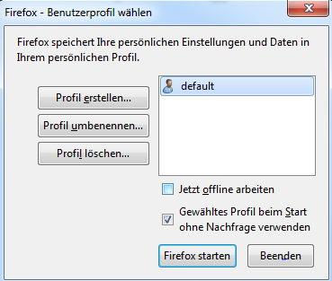 Firefox-Profil anlegen.