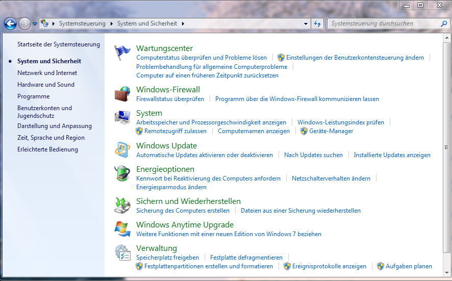 Windows 7 - Systemsteuerung