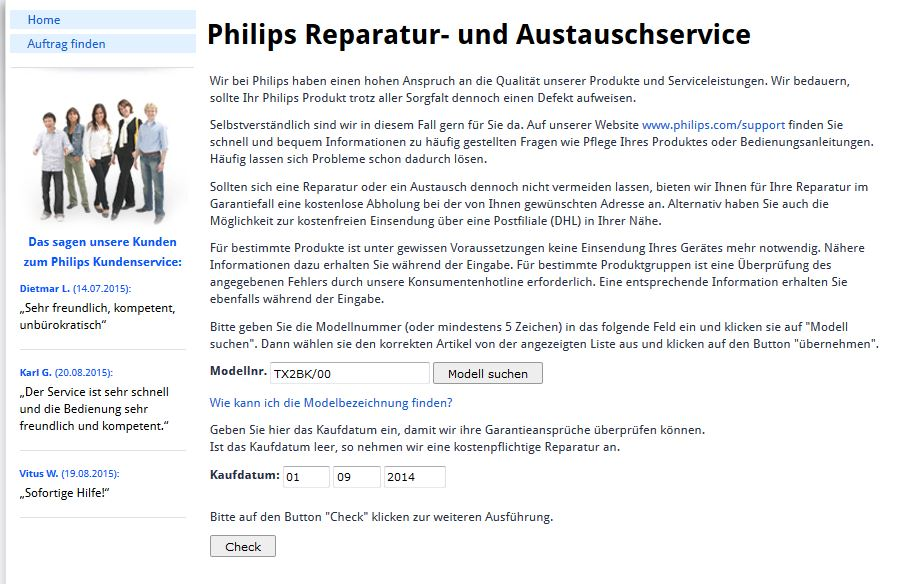 Seite 1 des Garantieantrags online bei Philips.de