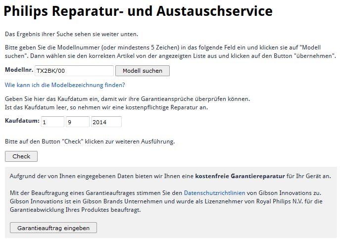 Check - Philips Garantieauftrag / Reparaturauftrag