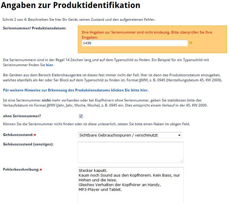 Ausgefüllter Garantieauftrag beim Philips-Support