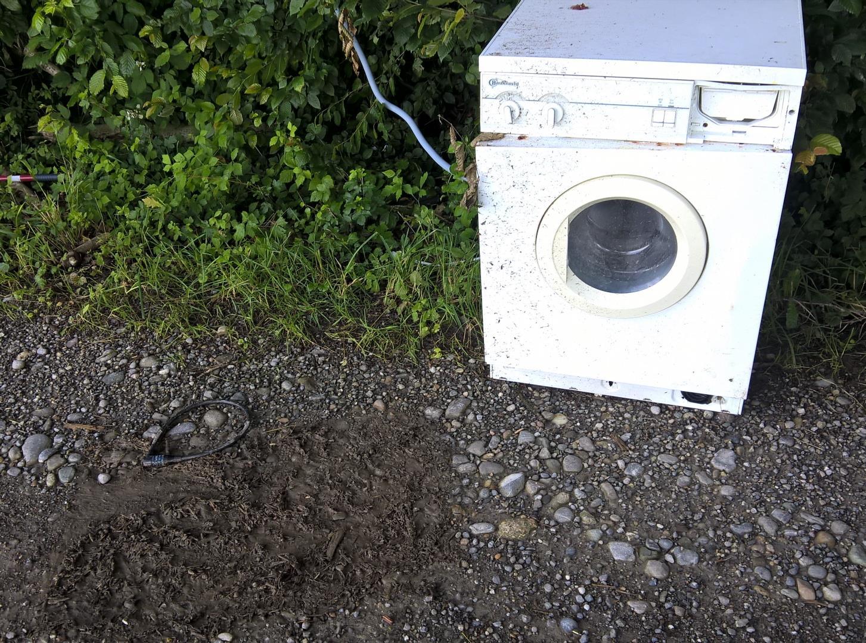 Deutliche Kampfspuren, die gestern früh noch nicht da waren. Da hat jemand mit der toten Waschmaschine kämpfen müssen, bevor es gelang, sie an einen Baum zu binden.