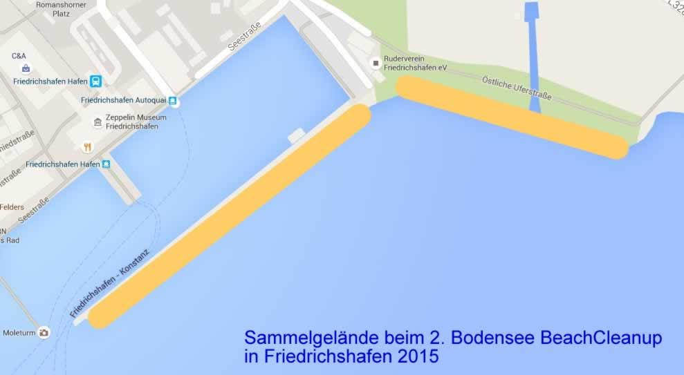 Das Sammelgebiet beim 2015er Bodensee BeachCleanup mit Sea Shepherd Deutschland
