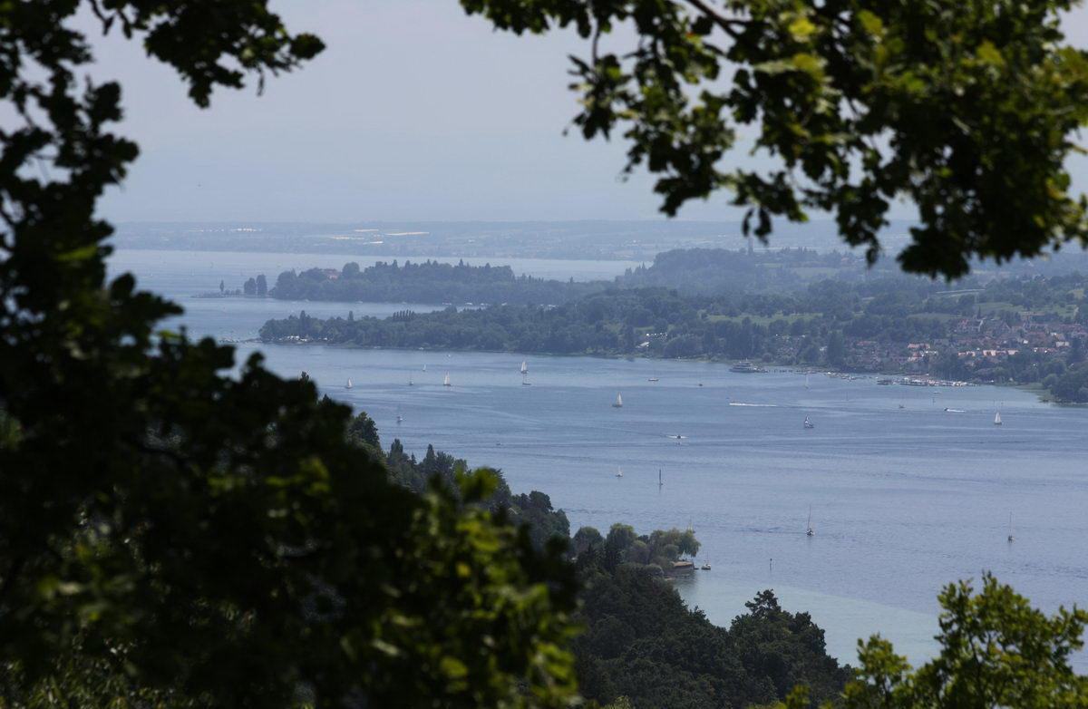 Erste Belohnung auf der Tour Sipplingen - Hödinger Tobel - Überlingen: Fantastischer Ausblick auf den Bodensee mit vielen Segelbooten. Im Hintergrund zu sehen ist die Insel Mainau.
