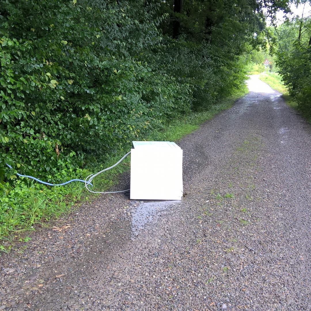 Furchtbar mißhandelt: Waschmaschine auf Waldweg.
